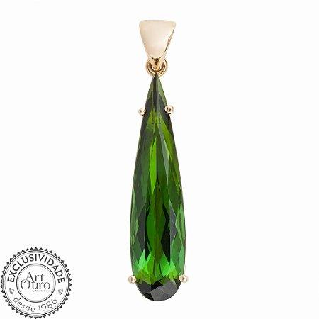 Pingente de Ouro - Turmalina - Gota - Pedra Preciosa - Encanto