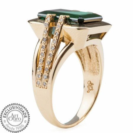 Anel Ouro 18k - Turmalina - Pedra Preciosa - Retangular - Divino