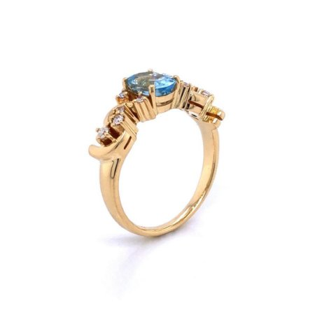 Anel de Ouro 18k - Água marinha - Pedra Preciosa - delicado