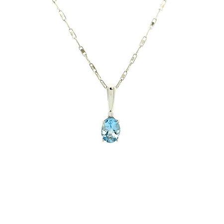 Pingente de Ouro - Água Marinha - Pedra Preciosa - Desejável