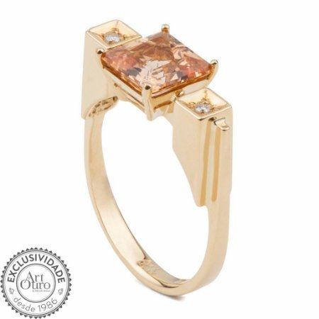 Anel de Ouro - Topázio Imperial - Pedra Preciosa - Sensacional