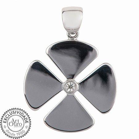 Pingente - Trevo - Diamante - Ouro 18k