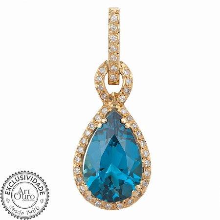 Pingente - Topázio Azul - Ouro - Perfeito