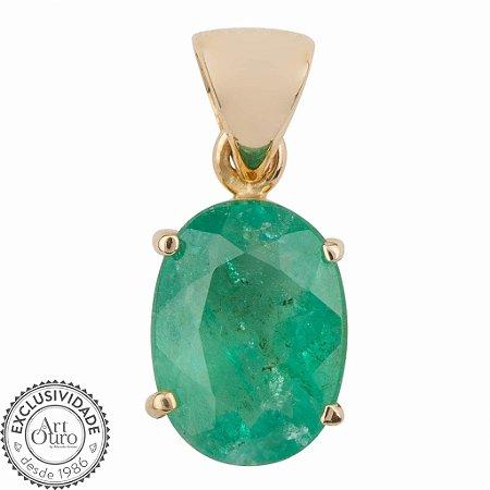 Pingente de Ouro - Esmeralda - Pedra Preciosa - Oval - Exuberante