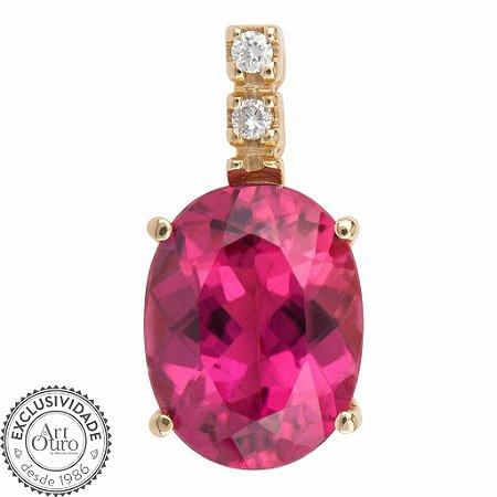 Pingente de Ouro 18k - Rubelita - Pedra Preciosa - Oval - Luxo