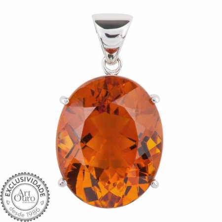 Pingente de Ouro - Citrino - Oval - Pedra Preciosa - exuberante