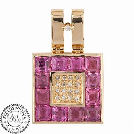 Pingente De Ouro 18k - Turmalina Rosa - Gemas - Sofisticado