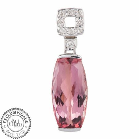 Pingente de Ouro 18k - Topázio Imperial - Deslumbrante - Diamante