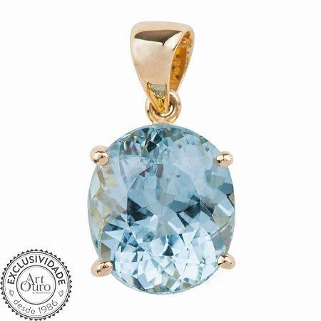 Pingente de Ouro - Água Marinha - Oval - Pedra Preciosa - Exuberante