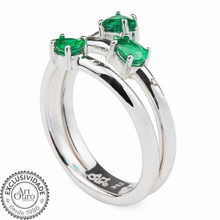 Anel  de Ouro 18k - Esmeralda - Pedra Preciosa - Clássico