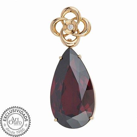 Pingente de Ouro 18k - Granada - Pedra Preciosa - Charmosa