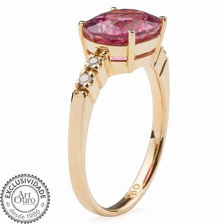 Anel de ouro 18k - Rubelita - Pedra Preciosa - Luxo