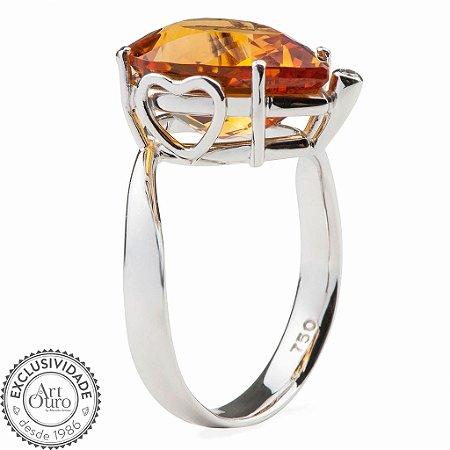 Anel Ouro 18k - Citrino - Pedras Preciosas - Heart
