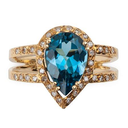 Anel - Topázio Azul  - Ouro - diamante - explendido