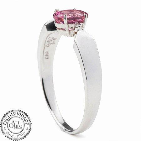 Anel De Ouro 18k - Turmalina Rosa - Pedra Preciosa - Glamurosa