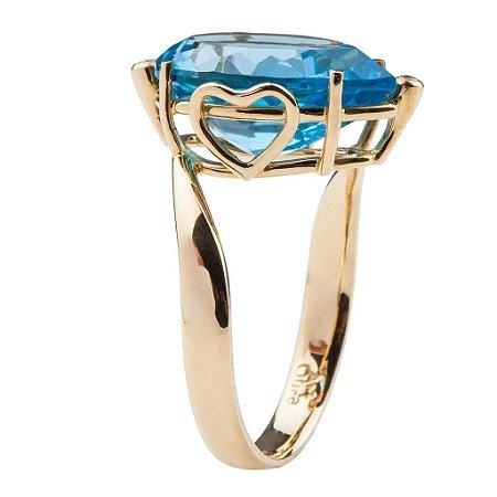 Anel - Topázio Azul - Anel Ouro 18k - Pedras Preciosas - Heart