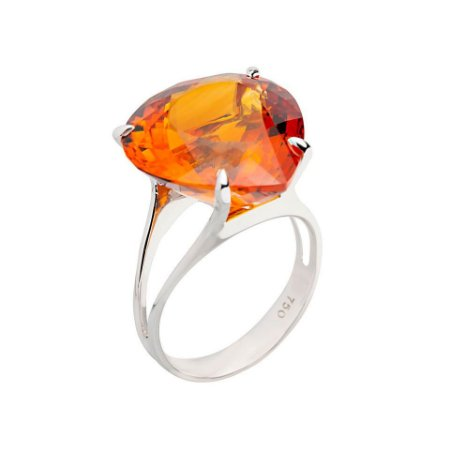 Anel de ouro 18k - Citrino - Pedras Preciosas - Romântico