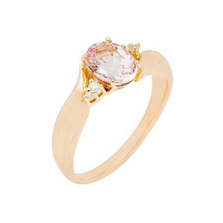 Anel Ouro 18k - Morganita - Pedra Preciosa - Super Meiga