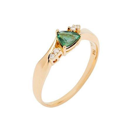 Anel  de Ouro - Turmalina - Pedra Preciosa - Super Meiga