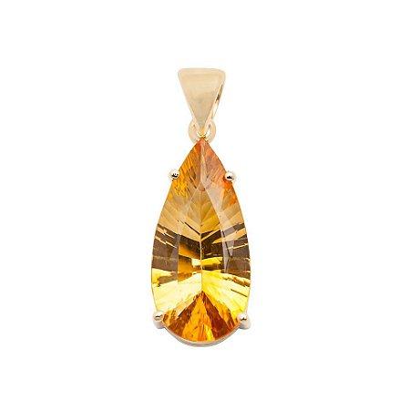 Pingente de Ouro 18k - Citrino - Gota - Pedra Preciosa - Exuberante
