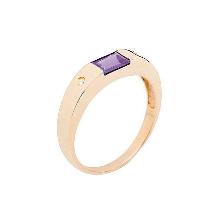 Anel Ouro 18k - Ametista - Pedras Preciosas - Admirável