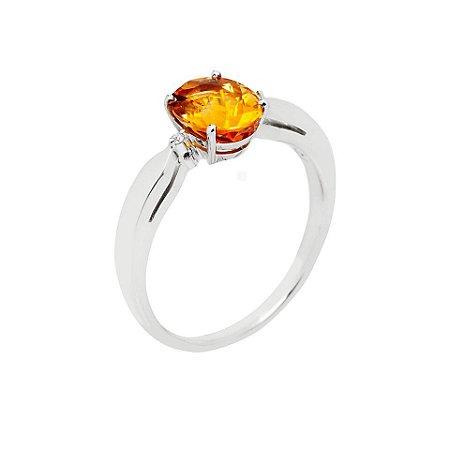 Anel de Ouro 18k - Citrino - Pedra Preciosa - Glamuroso