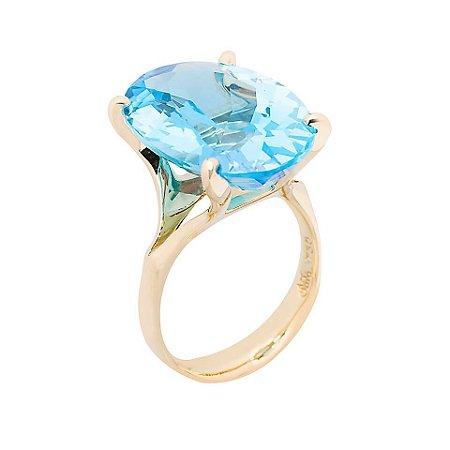 Anel Ouro 18k - Topázio Azul - Oval - Pedra Preciosa - Adorável