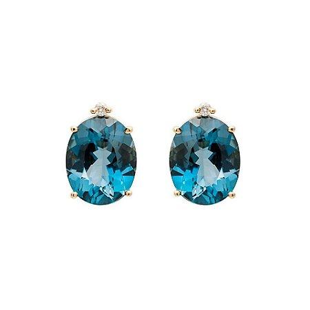 Brinco de ouro - Topázio Azul - Pedra Preciosa - Clássicos