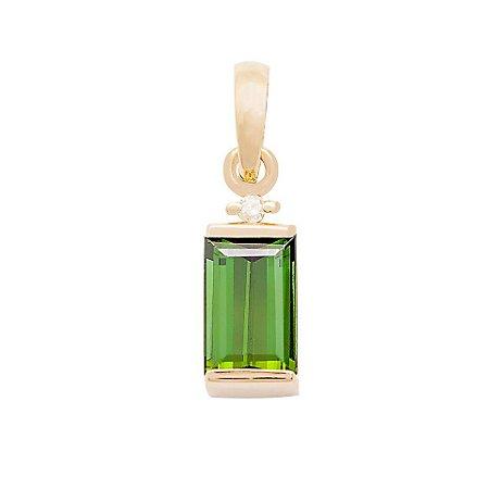 Pingente de Ouro 18k - Turmalina - Pedras Preciosas - Admirável