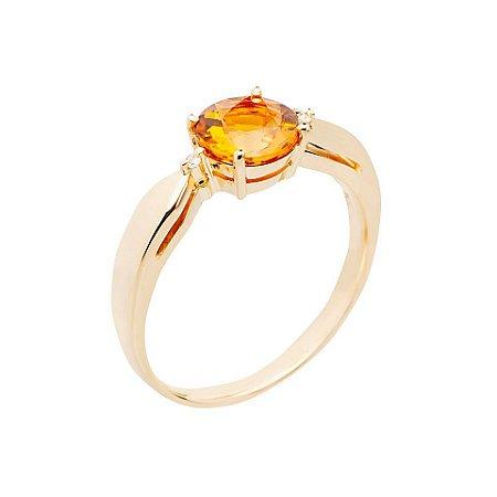 Anel de Ouro 18k - Citrino - Pedra Preciosa -  Carre - Glamuroso
