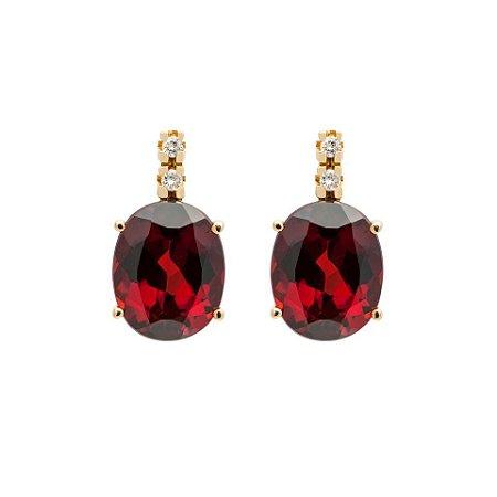 Brinco de Ouro 18k - Granada - Pedras Preciosas - Oval - Luxo