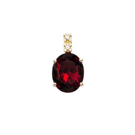 Pingente de Ouro 18k - Granada - Pedras Preciosas - Oval - Luxo
