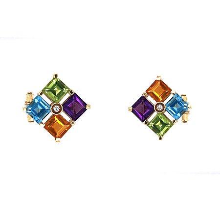 Brinco de Ouro 18k - Mix - Pedras Preciosas - Belíssimo