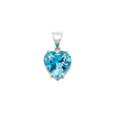 Pingente de Ouro 18k - Topázio Azul - Pedra Preciosa - Coração