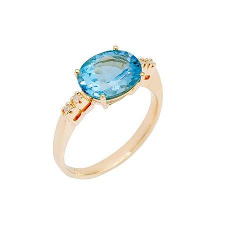 Anel de Ouro 18k  - Topázio Azul - Pedras Preciosas - Luxo