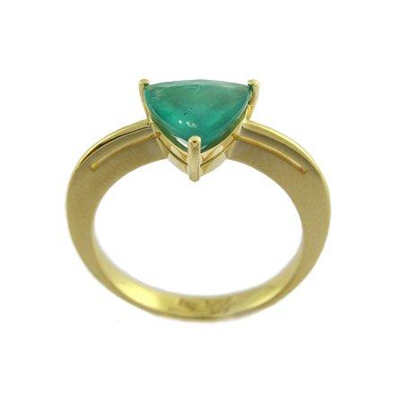 Anel de Ouro 18k - Esmeralda - Pedra Preciosa - Anel Solitário