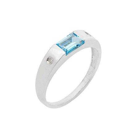 Anel de Ouro 18k - Topázio Azul - Pedras Preciosas - Admirável