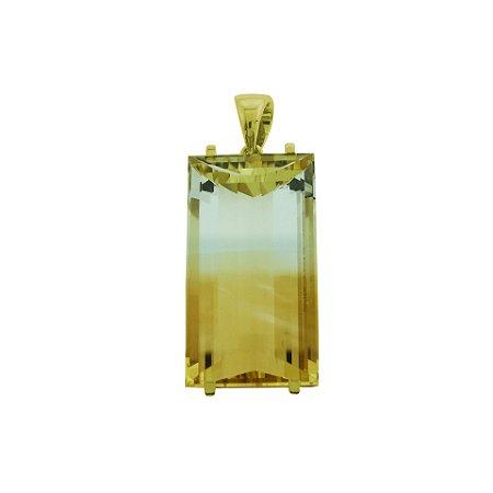 Pingente de Ouro - Citrino - Retangular - Bicolor - Exuberante