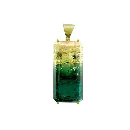 Pingente de Ouro 18k - Turmalina Bicolor - Gemas - Encanto