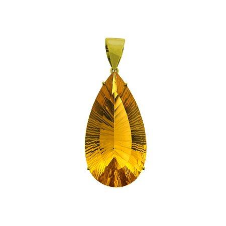 Pingente de Ouro 18k - Citrino - gota - milenium - Exuberante