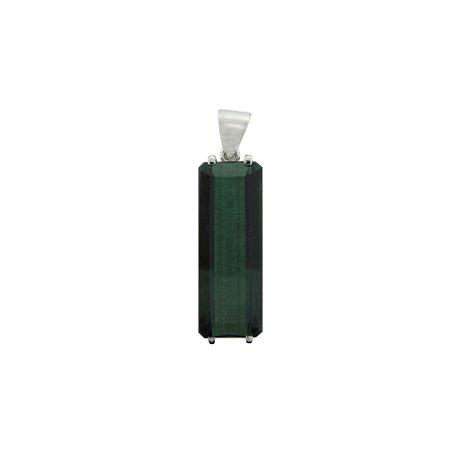 Pingente de Ouro 18k - Turmalina Verde - Retangular - Encanto