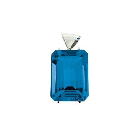 Pingente de Ouro - Gemas - Topázio Azul - Retangular - Encanto