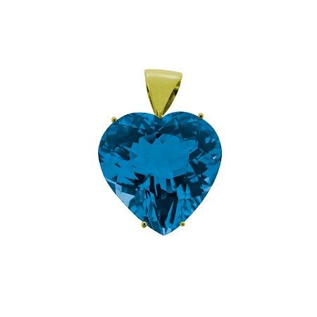 Pingente de Ouro - Topázio Azul - Coração - Encanto
