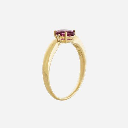 Anel De Ouro 18k - Rubelita - Pedra Preciosa - Glamurosa