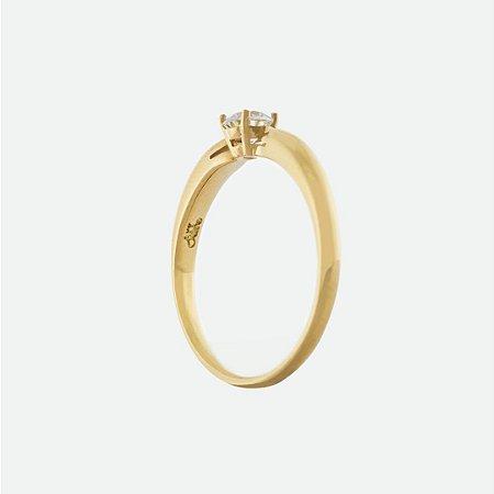 Anel de Ouro - Diamante - Pedra Preciosa - Redondo