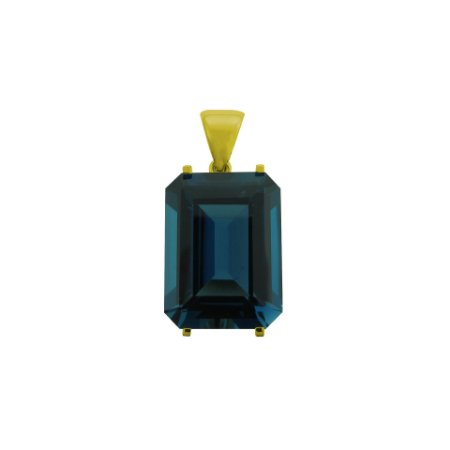 Pingente de Ouro - 18k - Topázio Azul - Retangular - Encanto