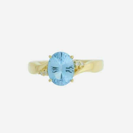 Anel de Ouro 18k - Topázio Azul - Pedra Preciosa - Super Meiga