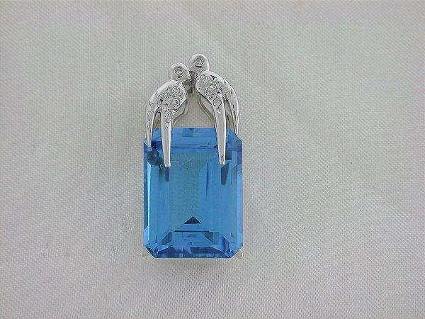 Pingente de Ouro 18k - Topázio Azul  - Pedra Preciosa - Especial