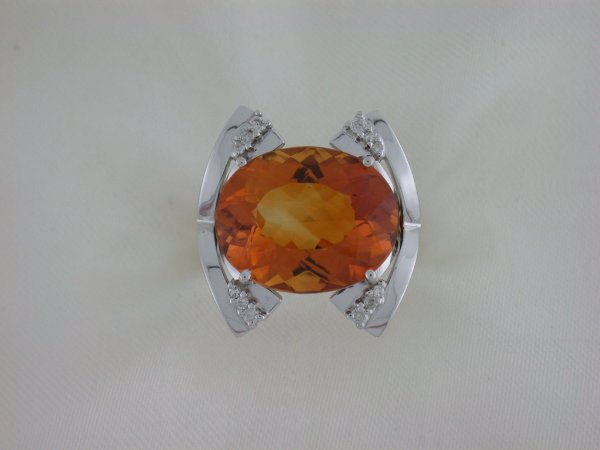Anel de Ouro 18k - Citrino - Pedra Preciosa - Especial