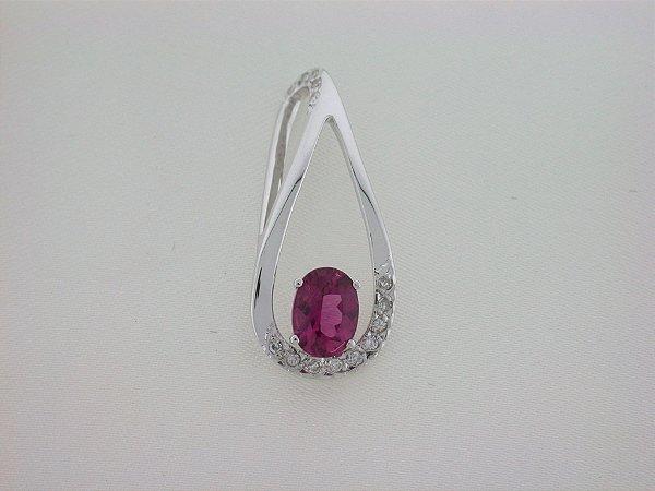 Pingente de Ouro 18k  - Rubelita - Pedra Preciosa - Especial